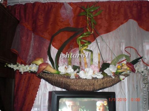 Растения в кашпо живые, три листа аспидистры высушенные,цветы искусственные фото 1