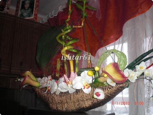 Растения в кашпо живые, три листа аспидистры высушенные,цветы искусственные фото 2