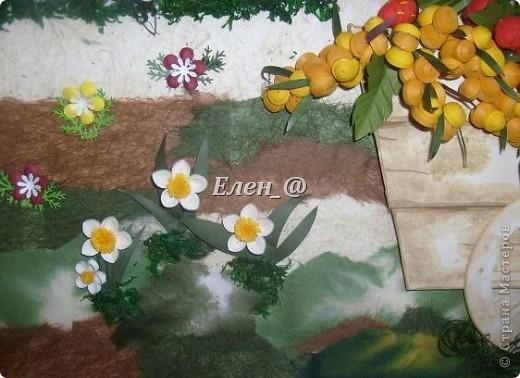 """Идею """"честно """"стянула"""" у Софьи Баланюк, в хабаровском центре. Только тележка у нее была с ромашками, ну а мне же в столовую нужно- значит будет с ягодами. Размер- 70х50см (ага, гигантизмом нисколечко не страдаю :)) ) фото 5"""