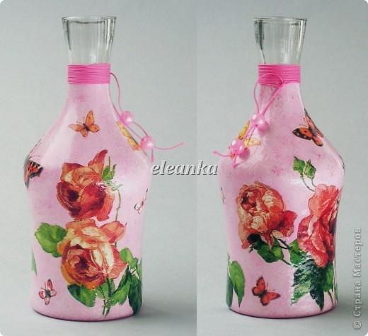 Был графин без пробки, вышла вазочка для цветов...  Декупаж, акриловые краски, лак. фото 1