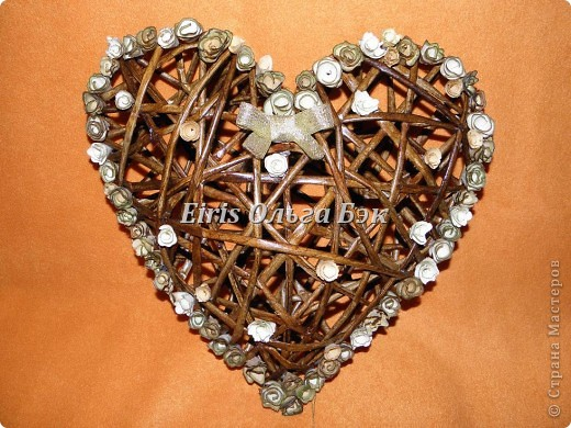 Это мой усовершенствованный  и уже немного систематизированный вариант плетенного сердца. фото 1
