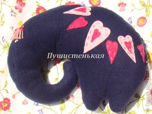 слон-хоботун ромаааантииик!!! или слониха.....???? все равно хороша!!!))) Ткань-флис. Размер 50х40см.  фото 5