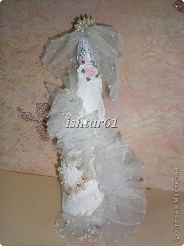 Декор свадебных бутылок фото 4