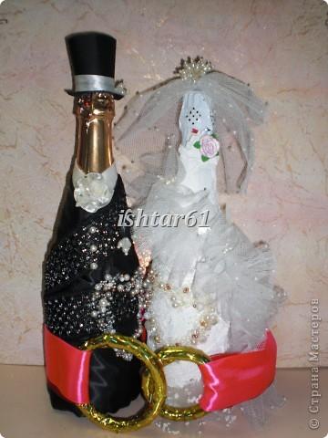 Декор свадебных бутылок фото 5