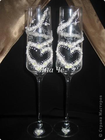 Мои новые свадебные бокальчики :) На них есть маленькие каллы, но их почти не видно. фото 1