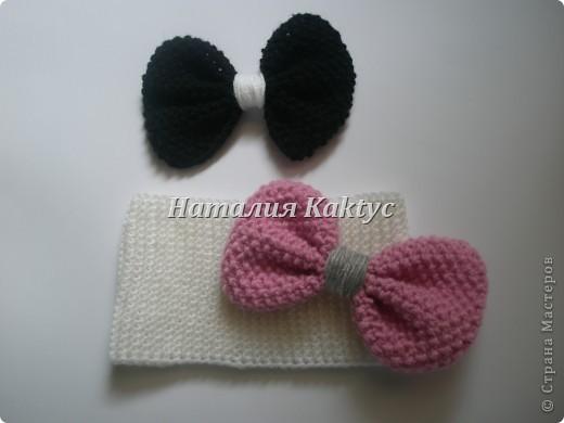 Повязочка на голову для девочки с бантиками которые можно снимать и менять. фото 1