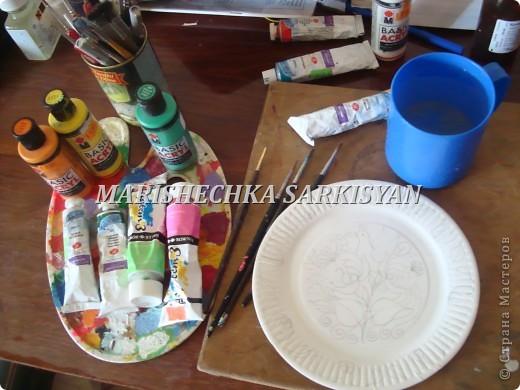 (МК) Мастер-клас по петриковской росписи. Роспись декоративной тарелочки.  фото 6