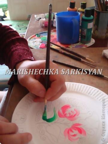 (МК) Мастер-клас по петриковской росписи. Роспись декоративной тарелочки.  фото 10