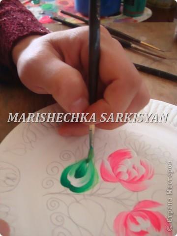 (МК) Мастер-клас по петриковской росписи. Роспись декоративной тарелочки.  фото 11
