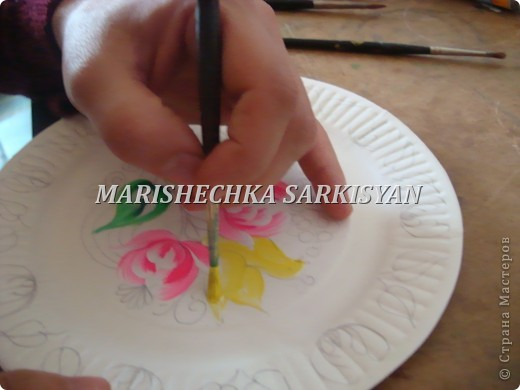 (МК) Мастер-клас по петриковской росписи. Роспись декоративной тарелочки.  фото 12