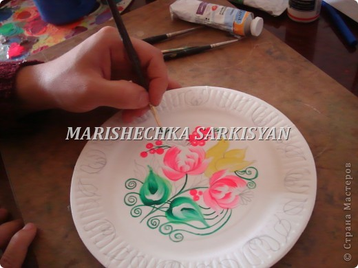 (МК) Мастер-клас по петриковской росписи. Роспись декоративной тарелочки.  фото 15