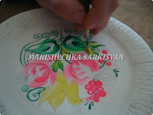 (МК) Мастер-клас по петриковской росписи. Роспись декоративной тарелочки.  фото 16