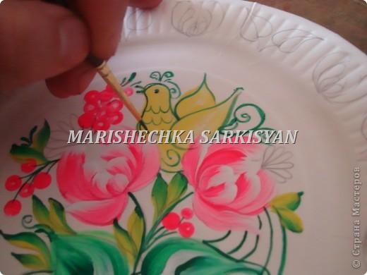 (МК) Мастер-клас по петриковской росписи. Роспись декоративной тарелочки.  фото 17