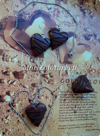 """Набор украшений """"Шоколадные сердца"""". Размер сердечек 2,5 см.  фото 1"""