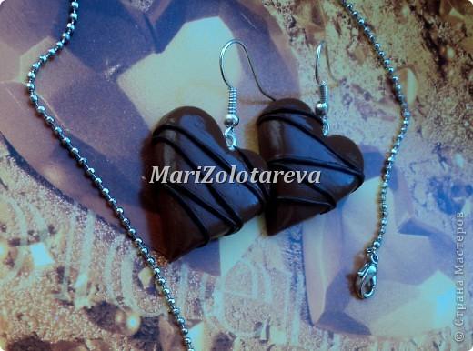 """Набор украшений """"Шоколадные сердца"""". Размер сердечек 2,5 см.  фото 2"""