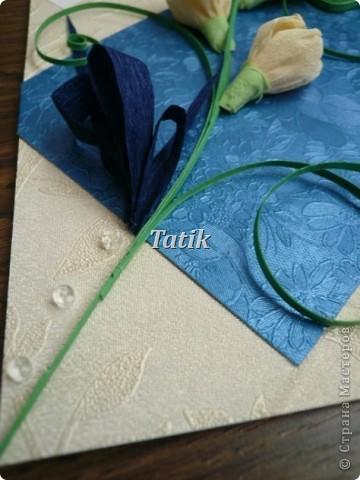 """Ох! я знала, что открытки для мужчин-это проблема)) но не знала, что на столько!) т.к. сдержанность мне не присуща - вот, что вышло)) Хотела сделать синии розы) т.к. решено было делать открытку в синих тонах, но в процессе творчества решила сделать крокусы. Идею позаимствовала из """"букеты"""" из конфет)  фото 2"""