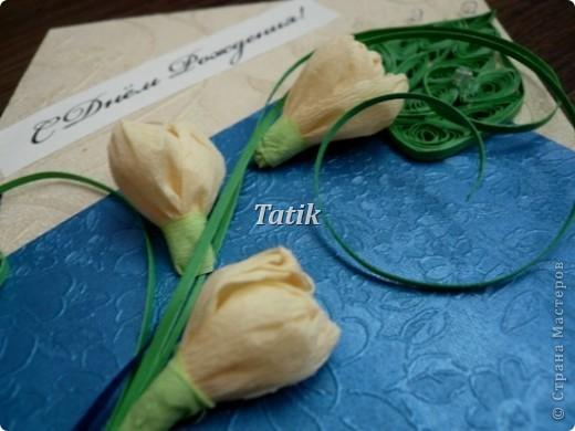 """Ох! я знала, что открытки для мужчин-это проблема)) но не знала, что на столько!) т.к. сдержанность мне не присуща - вот, что вышло)) Хотела сделать синии розы) т.к. решено было делать открытку в синих тонах, но в процессе творчества решила сделать крокусы. Идею позаимствовала из """"букеты"""" из конфет)  фото 3"""