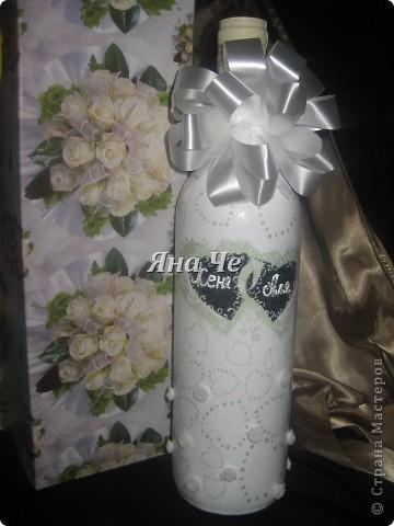 Бутылка  на свадьбу в Америку. Попросили сделать к бокалам, которые делала я ранее. фото 3