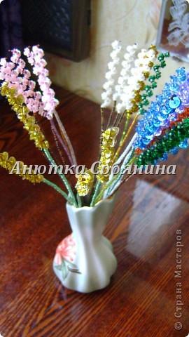 Мастер-класс Поделка изделие Бисероплетение Цветы из бисера и пайеток Бисер Пайетки Проволока фото 22.