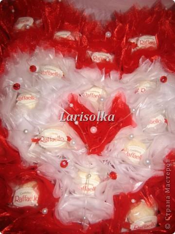 Сердце для молодой девушки на День рождения, 24 конфеты  Рафаэлло. фото 3