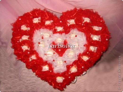 Сердце для молодой девушки на День рождения, 24 конфеты  Рафаэлло. фото 1