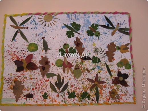 Представляю наши осенние фантазии в кружковой работе. Это панно делали дети средней группы.             На лугу  Бежит тропинка через луг,  Ныряет влево, вправо.  Куда ни глянь, цветы вокруг,  Да по колено травы.  Зеленый луг, как чудный сад,  Пахуч и свеж в часы рассвета.  Красивых, радужных цветов  На них разбросаны букеты. И. Суриков фото 5