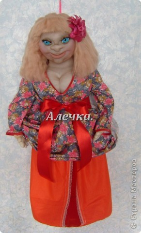 Вот моя пакетница, Ксюха. Сшила маме на день рождения. Попыталась сделать молодое женское лицо, по мк Юлии Григорян. фото 3