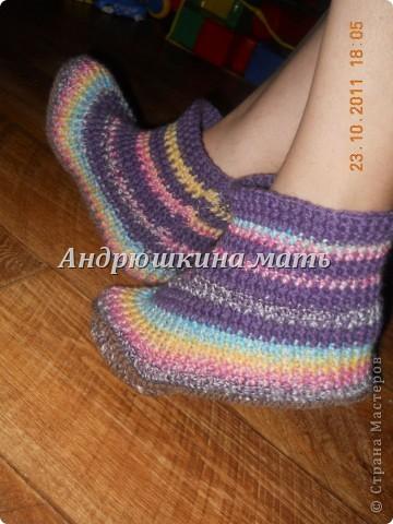 домашняя обувь, вязаные сапожки) фото 1