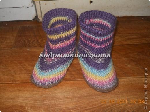 домашняя обувь, вязаные сапожки) фото 2
