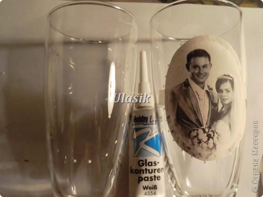 Давно хотела сделать бокалы с фоторгафией. Но никак не решалась. Ну для пробы сделала себе бокальчики на годовщину свадьбы. :)))  Вот что получилось. Выставляю работу на Ваш суд. Засняла небольшой МК фото 4