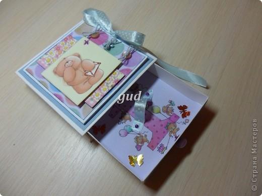 Моя подружка попросила сделать конвертики или коробочки для денежного подарка для своего крестника и его мамы. День рождения у них с разницей в 4 дня. Вот моя первая проба такая получилась. Как-то ориганальнее в коробочке деньгу подарить. фото 8