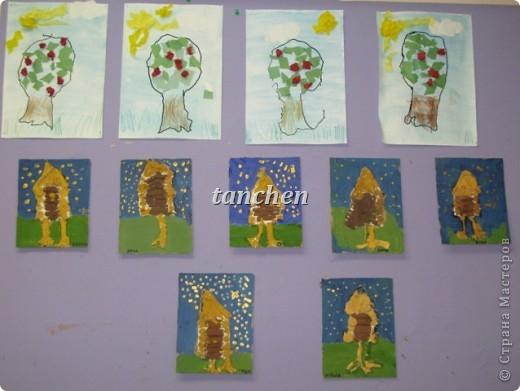 работы детей  средней группы, нарисованные Алёнушки, гуси-лебеди из теста и яблонька-аппликация фото 2