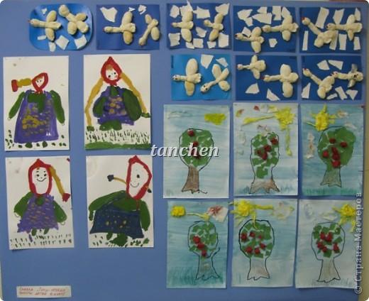 работы детей  средней группы, нарисованные Алёнушки, гуси-лебеди из теста и яблонька-аппликация фото 1