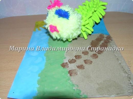 Сороконожка бежит, оставляя мокрые следы на песке  фото 1