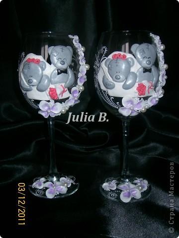 Привет Всем!Ну вот наконец то я закончила свадебные бокалы с мишками Тедди!Жду Ваших комментариев) фото 1