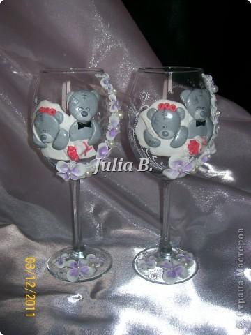 Привет Всем!Ну вот наконец то я закончила свадебные бокалы с мишками Тедди!Жду Ваших комментариев) фото 2