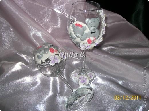 Привет Всем!Ну вот наконец то я закончила свадебные бокалы с мишками Тедди!Жду Ваших комментариев) фото 3