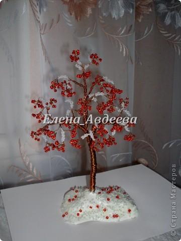 Поделка изделие Новый год Бисероплетение зимняя калина из бисера Бисер Бусинки Гуашь Проволока фото 1.