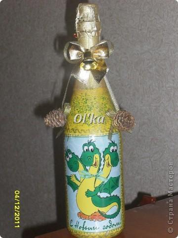 Здравствуйте! Моя новогодняя бутылкомания продолжается. :)  Принимайте новенькие бутылочки. фото 2