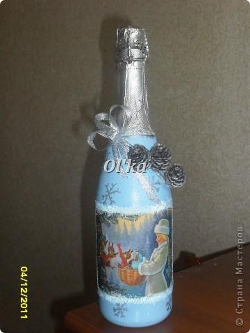 Здравствуйте! Моя новогодняя бутылкомания продолжается. :)  Принимайте новенькие бутылочки. фото 4
