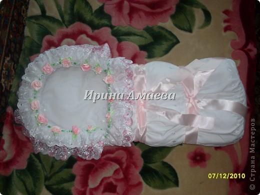 Мастер-класс День рождения Шитьё конверт для новорожденного Кружево Ленты Ткань фото 1