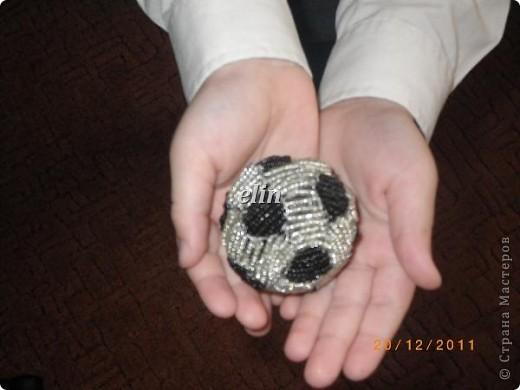 Бисероплетение - Футбольный мяч мини мк из бисера.