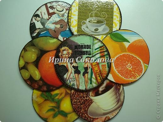 Подставки под чашки из CD- дисков фото 14