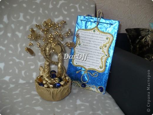 Денежное дерево и открытка. Габариты изделия: Дерево - 25*13 Открытка - 26*15 фото 2