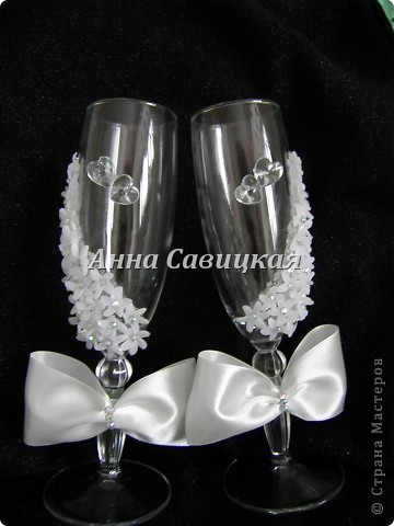 Декор предметов Свадьба Лепка Свадебные бокалы ручной работы Пластика фото 2