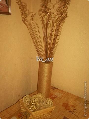 Ваза - декор джутовая верёвка фото 1