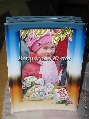 Делали с сыном в подарок девочке на 8 марта я придумала дизайн и распечатала заготовки Юра вырезал я собрала фото 5