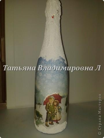 Новогодняя бутылка. Обычная салфетка. Клеила целиком с помощью файла. фото 1