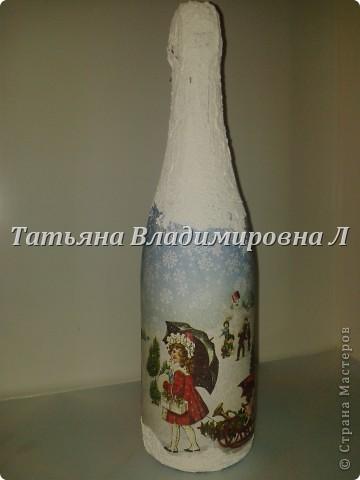 Новогодняя бутылка. Обычная салфетка. Клеила целиком с помощью файла. фото 2