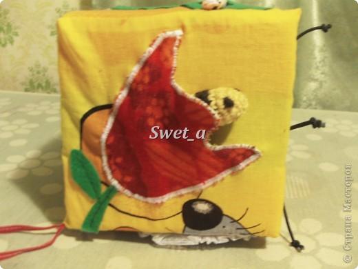Кубик для племянника. Божья коровка растегивается, внутри на ткани пчелка. Ножки-резиночки. фото 5